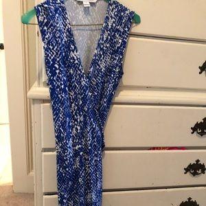 Diane von Furstenberg Blue Snakeskin Wrap Dress